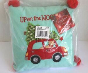 NEW Upon the Wooftop St. Nicholas Square Decorative Pillow Christmas Holiday Dog