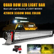 "Autofeel 42"" Quad Row 3360W LED Light Bar Spot Flood Amber White 8 Mode +Wiring"