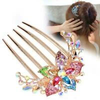 Women Girls Rhinestone Inlaid Flower Hair Comb Hairpin Accessory Headwear E7Z4