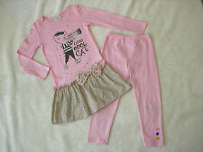 MISHA LULU Pink One Cool Cat Tunic Dress Top & Leggings Set 8 French Jazz Kitty