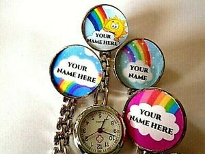 Nurse Watch PERSONALISED NAME Clip On Brooch Rainbow Sun Heroes Thank You NHS