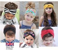 Baby Girls Turban Knot Twist Headband Hair band Head Wrap Cute Kids Floral Plain
