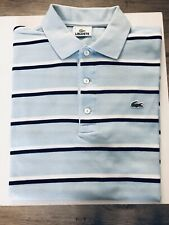 Vintage Lacoste Polo Shirt - Lt Blue Striped - Free Shipping UK