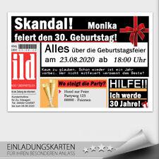 Einladungskarten Geburtstag ● Bildzeitung ● mit Briefumschläge ● 10 20 30 40 50
