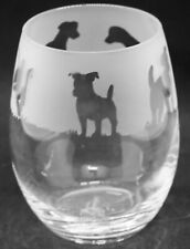 More details for jack russell terrier frieze boxed 36cl crystal stemless wine / water glass
