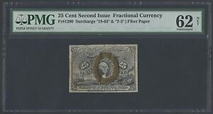 """FR1290 25¢ 2ND ISSUE SURCHARGE """"18-63"""" & """"T-2"""" FIBER PAPER PMG NET 62 UNC HW880"""
