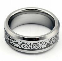 Mens Ring Celtic Wedding Band Engagement Anniversary Silver Tungsten Carbide New