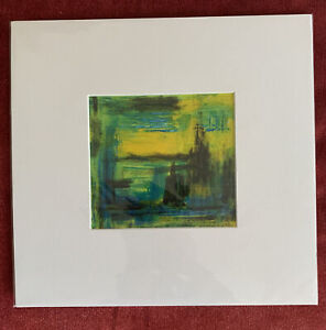 """Transcription Of Artwork By Gerhard Richter In Acrylic Mounted 5.5""""X 5.75"""" Green"""