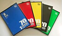 Lot of 5 Spiral Notebook 1 Subject 70 Sheets College Ruled Spiral Notebooks NEW!