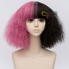 35CM Fluffy Ombre Lolita Punk Black Mixed Dark Pink Neat Bang Curly Cosplay Wig