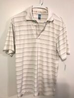 PGA TOUR Men's M Driflux Polo Shirt White Khaki Stripes Medium Golf