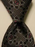 JOSIAH FRANCE Men's 100% Silk Necktie ITALY Luxury Geometric Black/Gray/Pink EUC