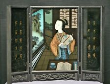 Magnificent Antique Chinese Hand Painted Reverse Glass Painting Table Screen.