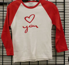 LOVE YOU  Women  3/4 sleeve raglan t shirts RED on White  SIZE SMALL ONLY