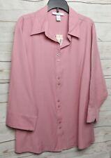 New Dressbarn Blouse Shirt Top Size 1X Pink 3/4 Sleeve
