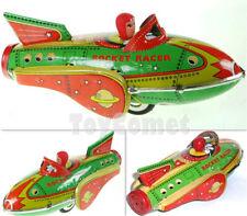 MF735 Green Rocket Racer Friction Power Space Ship Retro Tin Toy w/Box