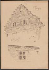 Tongeren  Armand HEINS Ancienne planche avec croquis de facade