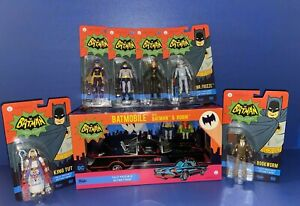 Funko Batman 1966 Batmobile W/ Batman & Robin + 6 Figures Catwoman, Batgirl New
