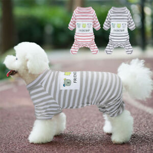 Stripes Dog Pajamas Jumpsuit Pet Puppy Cat Clothes Apparel for Chihuahua Yorkie