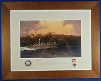 """Rare Jack Fellows Signed Numbered """"Devil Boat-PT191"""" Aviation Art Framed 1991"""