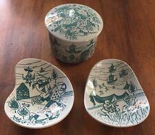 Vintage Nymolle Art Paience Denmark Trinket Box w/ Lid & 2 Trinket Dishes