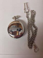 Fiat 500 ref64 Pewter Effect Car on a polished Silver Case Pocket Watch