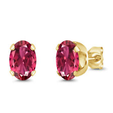 1.70 Ct Oval Shape Pink Tourmaline Yellow Gold Plated Silver Stud Earrings