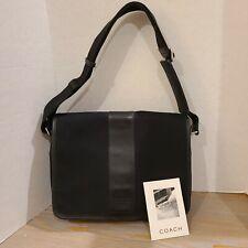 Vintage Black Coach Canvas & Leather Messenger Briefcase Bag Mens Shoulder