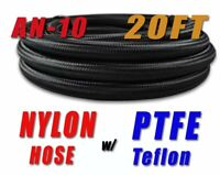 "-10 AN10 (1/2"") 12.95mm Braided PTFE  Fuel Line Hose 20FT Black Nylon"