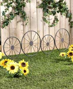 Set of 4 Western Stage Coach Wagon Wheel Garden Trellis Border Stakes