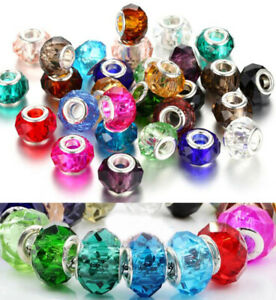 50pcs Colorful Faceted beads charm bead Fit DIY European Bracelet Jewelry making