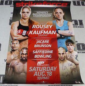 Ronda Rousey Sarah Kaufman Miesha Tate + Card Signed StrikeForce Poster UFC /100