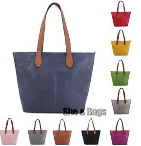 Womens Large Handle Bright Vegan Leather Work Shopper Tote Handbag Shoulder Bag