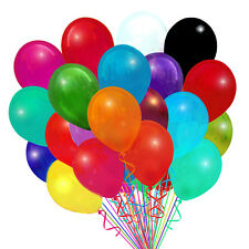 "72 Latex Balloons 12"" With Clips and Curling Ribbon-Assorted"