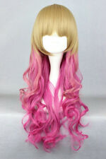 Fashion Long Blonde Mix Pink Curly Women Lady Cosplay Anime Hair Wig Wigs + Cap