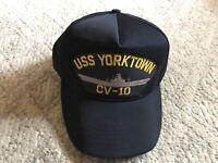 USS YORKTOWN CV-10 Snapback Cap Hat U.S. Military Navy Fits 6-3/4 - 7-1/2 USA I5