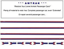 "Amtrak Passenger Car Decal Set ""Water Slide"" Lionel Style"