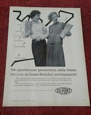 Dupont Women's Clothing Print Ad 1958 in NY Times, Chicago Daily, Detroit News