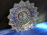 """Vintage 1960s Federal Glass Clear Carnival 10"""" Bowl Petal White Iridescent"""