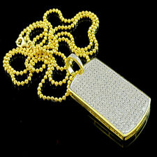 14K MENS LADIES YELLOW GOLD FINISH DIAMOND SIMULATED DOG TAG CHAIN NECKLACE SET