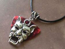 DEVIL Blood Red Guitar Pick NECKLACE Venom Demon Evil Metal Leather