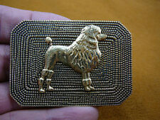 (B-DOG-174) Poodle dog love Standard Poodles rectangle dot brass pin pendant