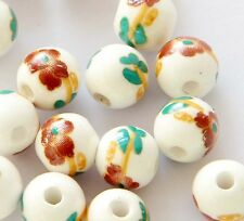 15Pcs Hand Painted Red Flower Ceramics Porcelain Beads Finding--10mm