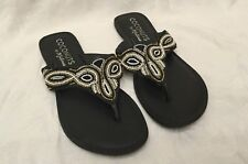 Women's COCONUTS By Matisse Size 10M Black Brass Beaded Tribal Flats SANDALS