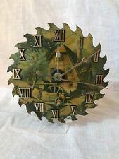 "Folk Kitschy Country Cabin Saw Blade Wall Clock w Roman Numerals 5.5"" Mill Scene"