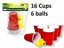 Beer Pong Drinking Game Set Kit 16 Cups 6 Balls Xmas Party Pub BBQ Gift