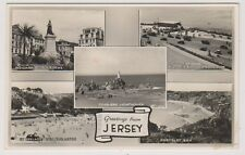 Jersey postcard - Greetings from Jersey (Multiview showing 5 scenes) - RP - P/U