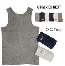 EX NXT 6 Pack Boys Vests Sleeveless Underwear Kids Cotton White Grey Blue Vest