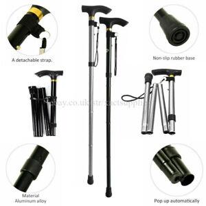 2pc Black/Silver Hight Adjustable Collapsible LightWt Walking Stick Folding Cane