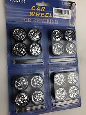 CHROME REPLACEMENT WHEELS & TIRES SET RIMS FOR 1/18 SCALE CARS AND TRUCKS 2005A
